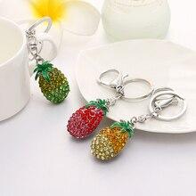 Tropical fruits pineapple key wallet bag buckle crystal pendant car key chain holder yskoo7 high-end gifts