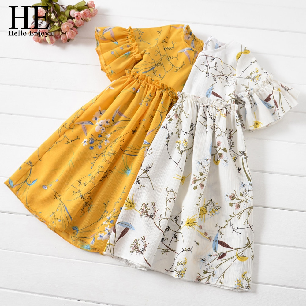 HE Hello Enjoy Kids Clothes Baby Girls Summer Dress Teenage Casual Flare Sleeve Ruched Floral Print Infantil Princess Dresses he hello enjoy baby girls dress new summer kids girl princess dresses floral sweet dress lovely casual costume children clothing