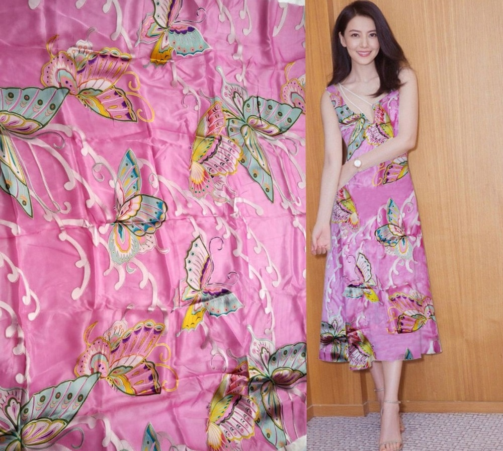 Alta calidad 2018 nueva moda verano vestido Formal Rosa ciruela flores Impresión Digital tela Súper pesado tela de seda Real elástica