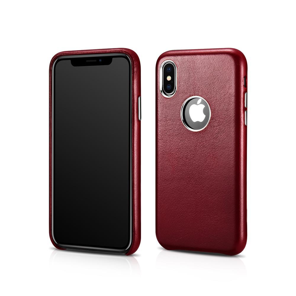 ICARER Funda de cuero genuino para iPhone XS Logo a prueba de golpes Ultra delgada funda de teléfono para iPhone XS MAX contraportada