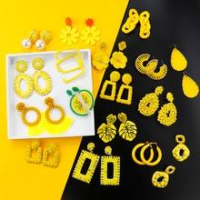 AENSOA coréen élégant 30 Styles jaunes acrylique boucles doreilles nouvelle mode Simple géométrique pendentif boucles doreilles bijoux de mariage
