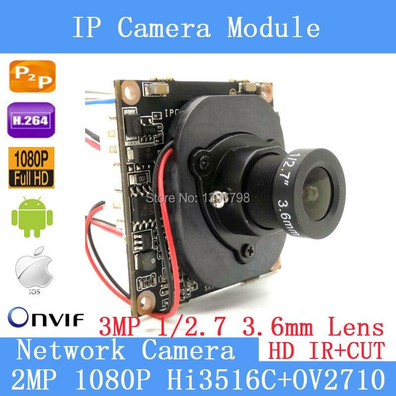 2.0MP IPC 1080P ONVIF P2P 1/2,7 HI3516C + OV2710 vigilancia de red de visión nocturna 3MP 3,6mm lente HD Módulo de cámara IP Cable POE