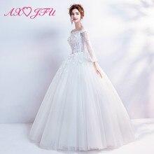 AXJFU princesse illusion blanc fleur dentelle robe de mariée de luxe vintage bateau cou perles cristal blanc robe de mariée 6186t