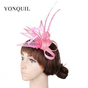Fashion Sinamay Hair Fascinator Bride Wedding Headwear Nice Linen Feathers Headdress For Women Lady Party Tea Hair Accessories