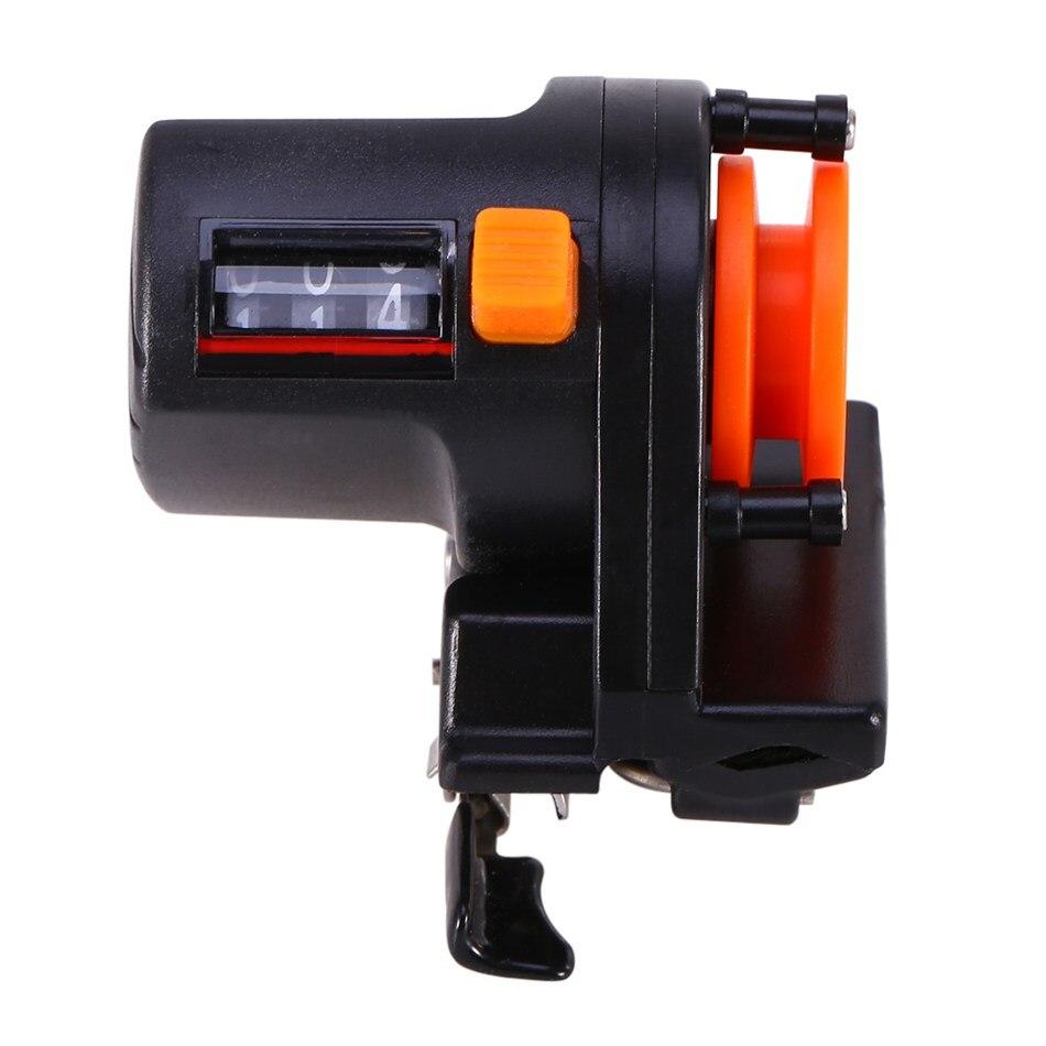 Mechaniczny/elektroniczny żyłka długość licznik 999 M zakres żyłka głębokość Gauge Clip On Rod narzędzie połowowe dwukierunkowy pomiar