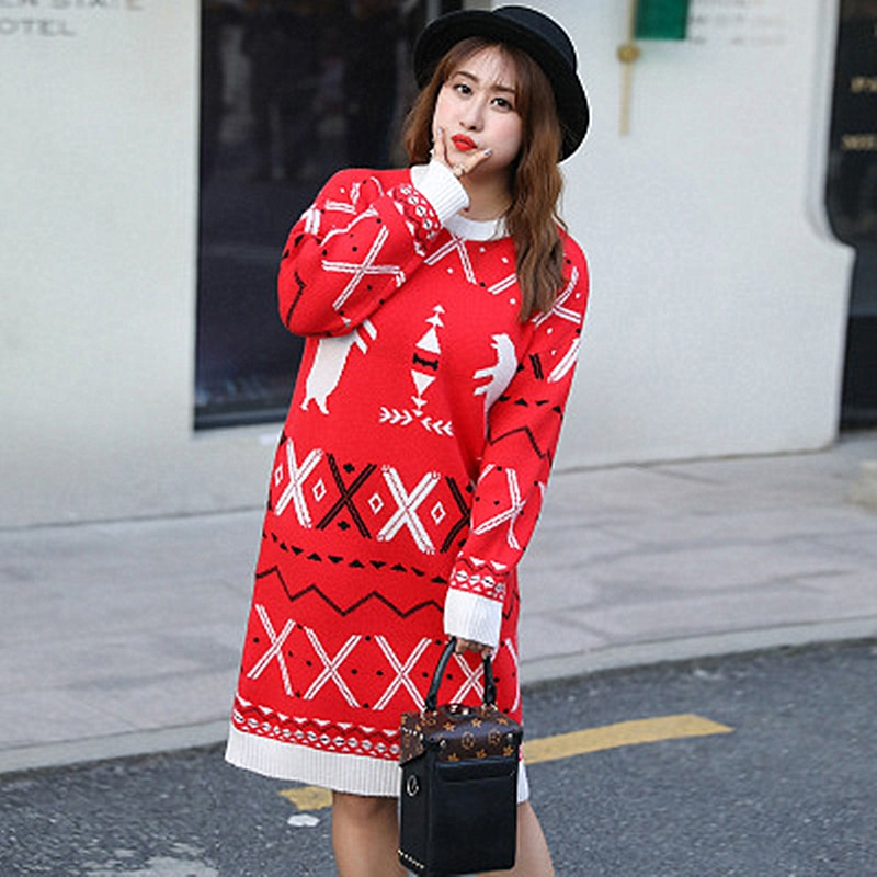 Plus Fertilizer XL Women's Fat MM Long Sweater Skirt Hit Color Large Size Slim Loose Knitted Simple Cover Meat enlarge