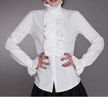 Personnalisé 2020 nouveau coton haut cou froufrous femmes Vintage victorien haut volant chemise Blouse, Blouses de mode pour les femmes