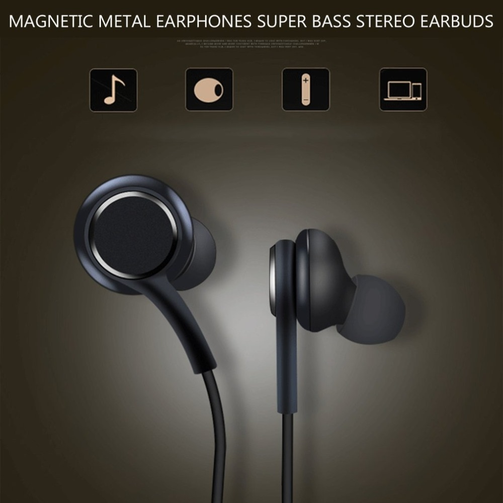 Metal magnético auriculares estéreo con Supergraves Auriculares auriculares a prueba de sudor con micrófono de manos libres auriculares para Samsung S8