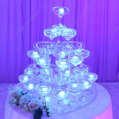 Torre de champán para Bodas de 3 niveles, Cupcakes de corazón, torre de champán para el Día de San Valentín, soporte de cristal para postres y hoteles de lujo