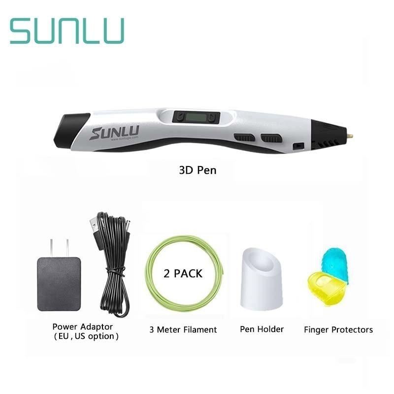 SUNLU 3D Ручка, SL-300, регулируемая температура, детская ручка для нарезки со светодиодным экраном, PLA/ABS нить