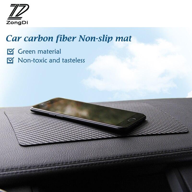 ZD 1X alfombrilla antideslizante de fibra de carbono para coche Citroen c3 c4 c5 Hyundai solaris tucson 2017, creta ix35 Kia rio ceed cerato, accesorios