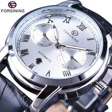 Forsining classique calendrier blanc mode argent cadran en cuir véritable Roman numéro affichage hommes automatique montre haut marque de luxe