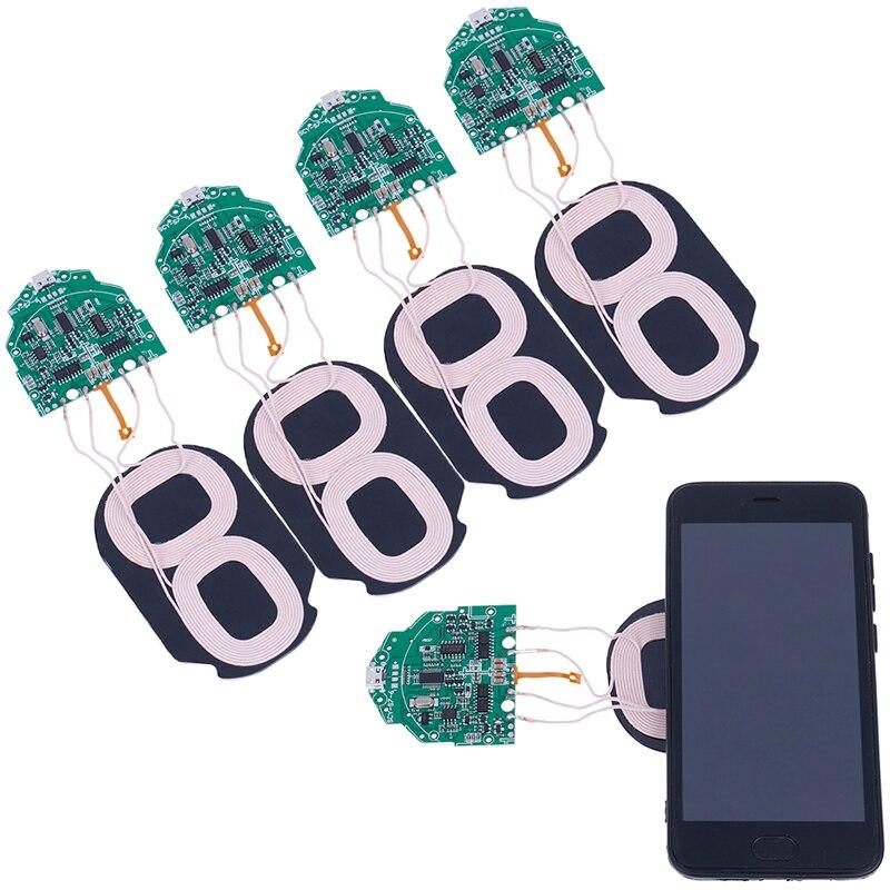 Cargador inalámbrico portátil de carga rápida 10W Qi placa de circuito PCBA con 2 bobinas duales Qi accesorios estándar de carga inalámbrica