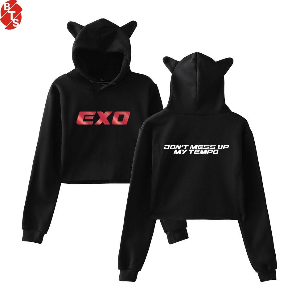 EXO Kpop Printed Cat Ear Hoodies for Women Long Sleeve New Fashion Hooded Sweatshirts 2018 Hot Sale Casual Girls Sexy Wear