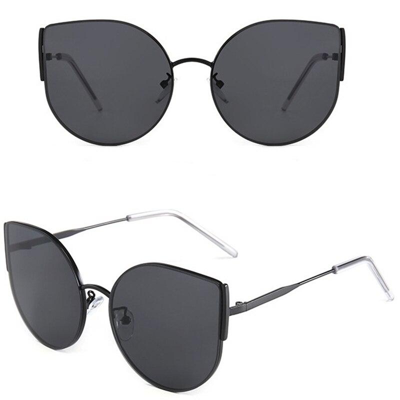Sexy Cat Eye Sunglasses Women girl Retro Tinted Color Lens Vintage Shaped Sun Eyewear Female Metal Reflective Flat Classic