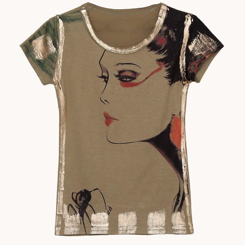 AliExpress - Gkfnmt Vetement Femme T Shirt Korean 2021 Summer Short Sleeve Character Print T-Shirt Womens O-Neck Tops Plus Size Women Clothes