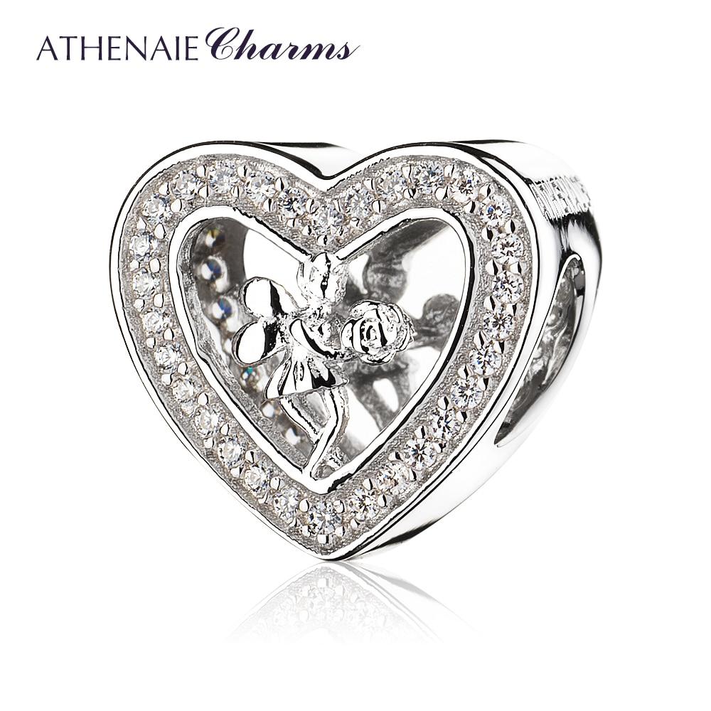 ATHENAIE 925 فضة تمهيد واضح تشيكوسلوفاكيا الملاك روز القلب Charms صالح أساور مجوهرات هدية هالوين