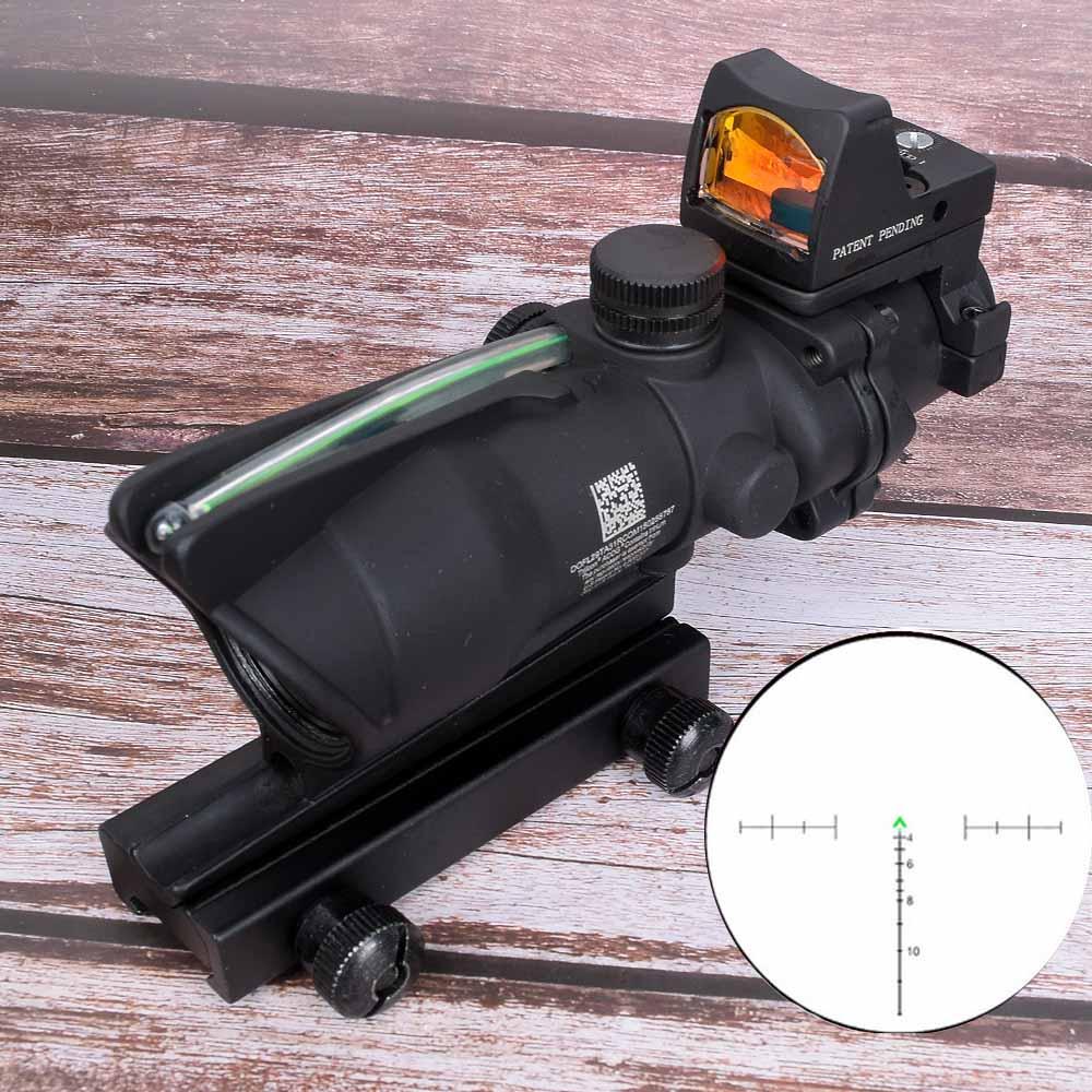 Hunt sight Acog 4x32 Optic Scope Riflescope Cahevron Reticle Fiber Green Red Illuminated Optic Sight With Rmr Mini Red Dot Sight