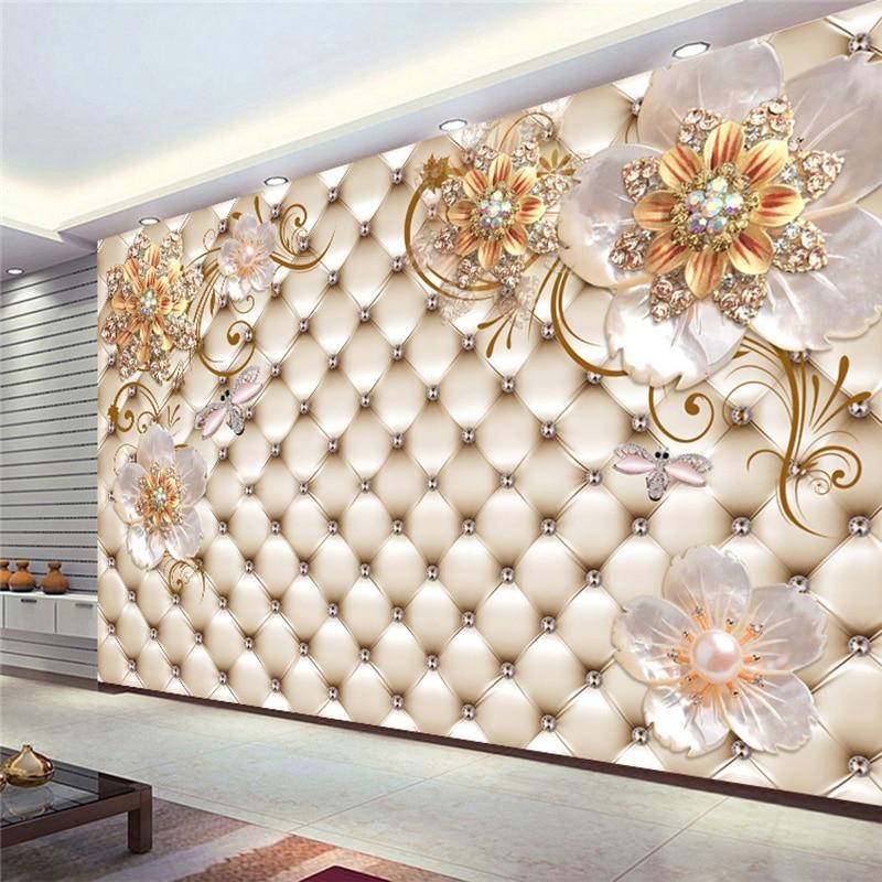 Papel tapiz Mural 3D personalizado de cualquier tamaño, estilo europeo, foto de flor de cristal,