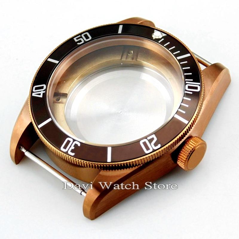 41mm Sapphire Coffee Watch Case Fit ETA 2836 Miyota 8205 8215 821A Mingzhu/DG 2813 3804 Movement Watch