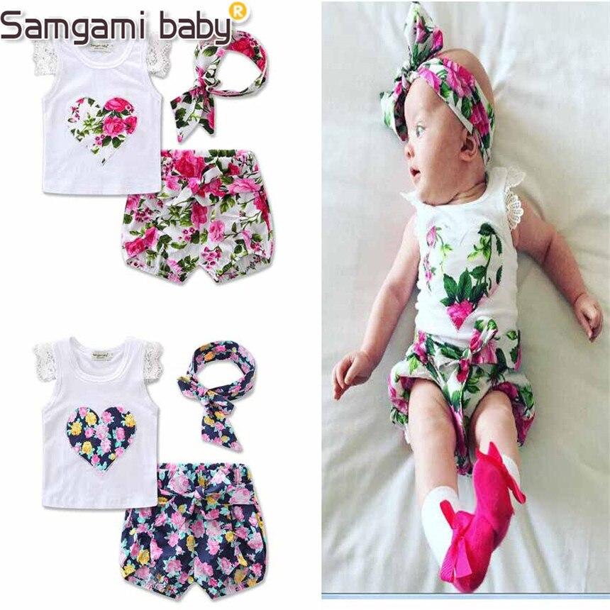 SAMGAMI BABY Fashion Sleeveless Summer Style Girls Lace Shirt +kids Floral print Shorts + headband 3pcs Suit Children Rose baby