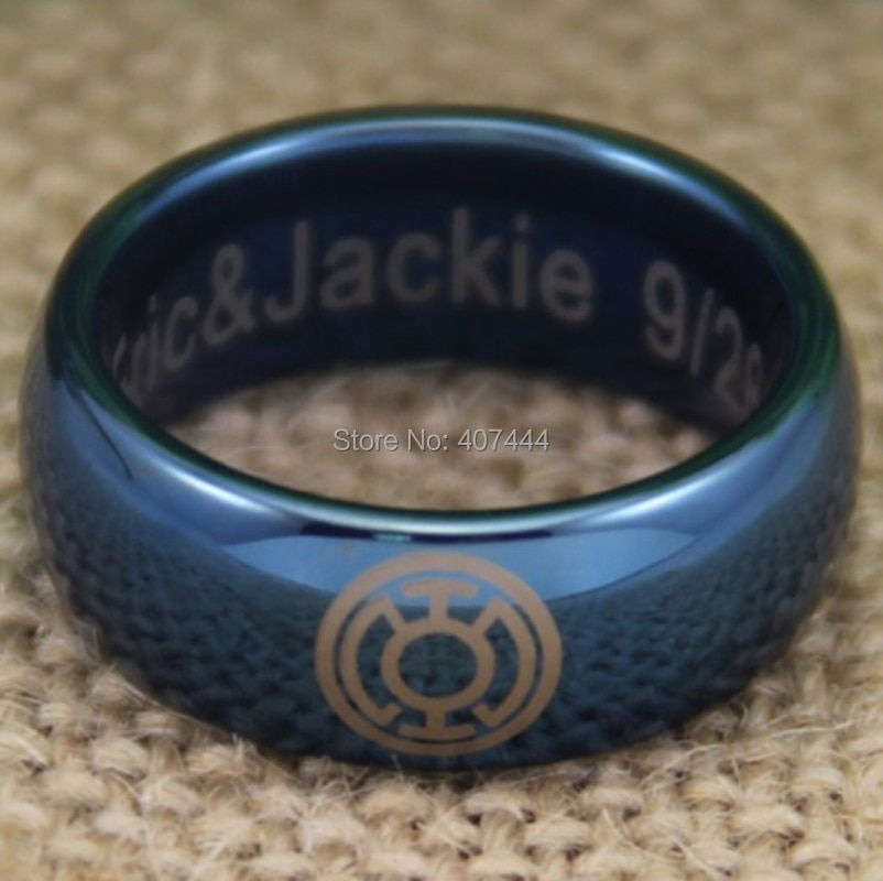 Envío Gratis, joyería YGK, gran oferta, cúpula azul brillante de 8 MM, linterna azul, nuevo anillo de boda de tungsteno a la moda para hombres