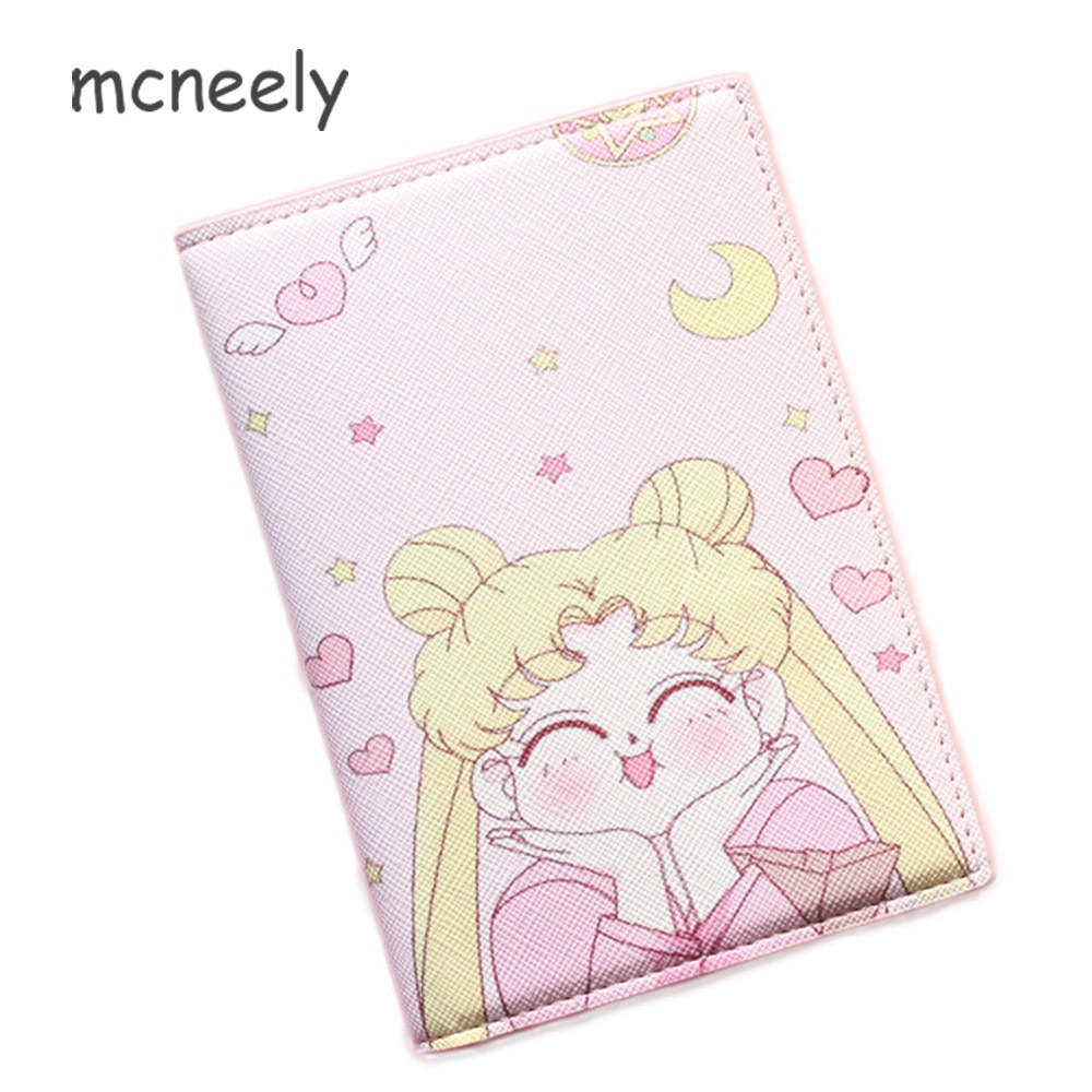 Cartera portatarjetas 2020, funda multifunción para pasaporte, funda protectora para tarjetas de negocios, funda para pasaporte Sailor-Moon