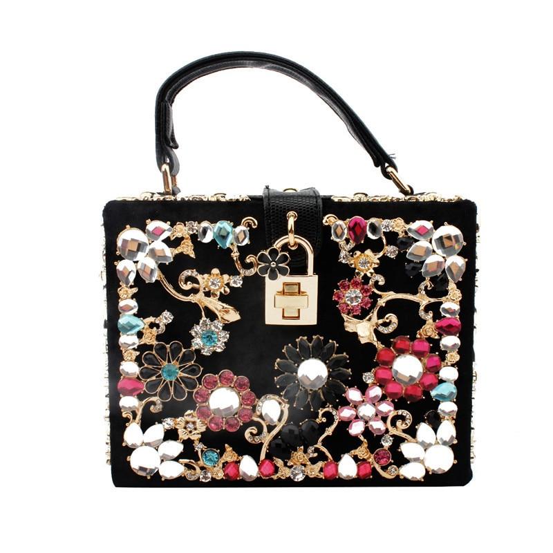 حقيبة يد نسائية كلاسيكية مزينة بالزهور والماس ، جودة عالية ، حقيبة كتف ، حقيبة سهرة ، عصرية ، لحفلات الزفاف ، صندوق