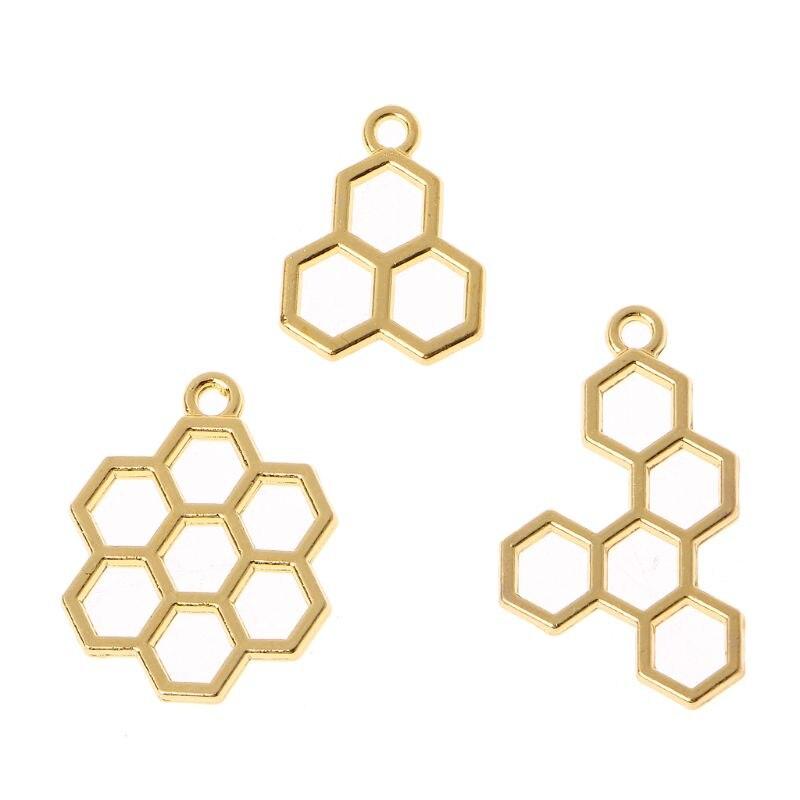 3Pc Bee Honeycomb DIY Metal Frame Pendant Open Bezel Setting UV Resin Jewelry Findings Gold Charm Bezel Setting Findings