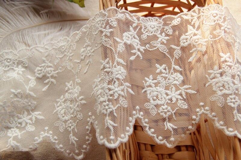 Venta al por mayor de tela de Encaje Vintage blanca con encaje de tul bordado de Venecia de color crudo 11cm de ancho 10 yardas/lote