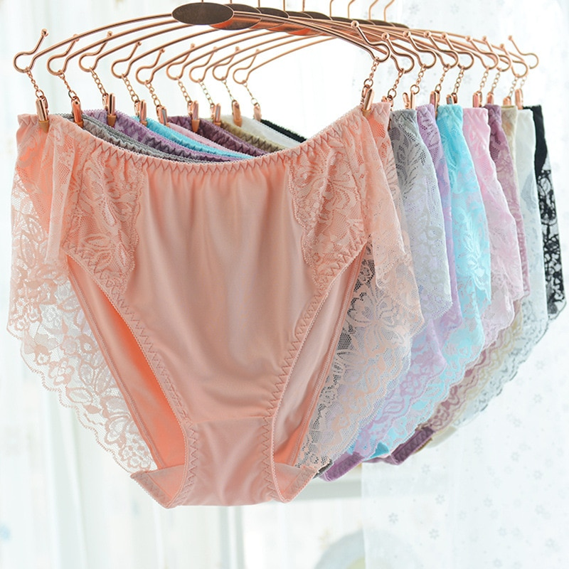 High Quality Luxury brand sexy Briefs Women Underwears plus size 4XL  big size Lace Milk silk high waist Womens Panties