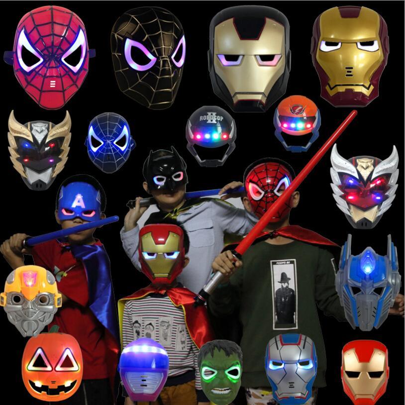 Halloween Party Supplies Glowing LED Mask Toys Avengers Hero Cosplay Captain America Iron Man Superhero Spiderman Hulk Batman