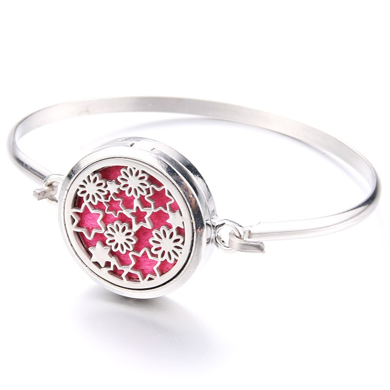 Charm Beautiful Pattern Stainless Steel Aroma Box Bracelet Aromatherapy Essential Oil Diffuser Box B
