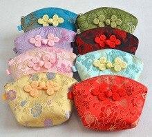 Sac artisanal exquis avec nœud en porcelaine   Petit sac cadeau en coquille, boîte à bonbons de noël, soie Brocade mignon porte-monnaie, cadeaux de fête 50 pièces/lot