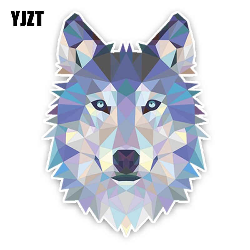 YJZT 11,7*15,7 CM interesante encantador enojado cabeza de lobo gris dibujo animado coloreado pegatina PVC para coche decoración C1-5435