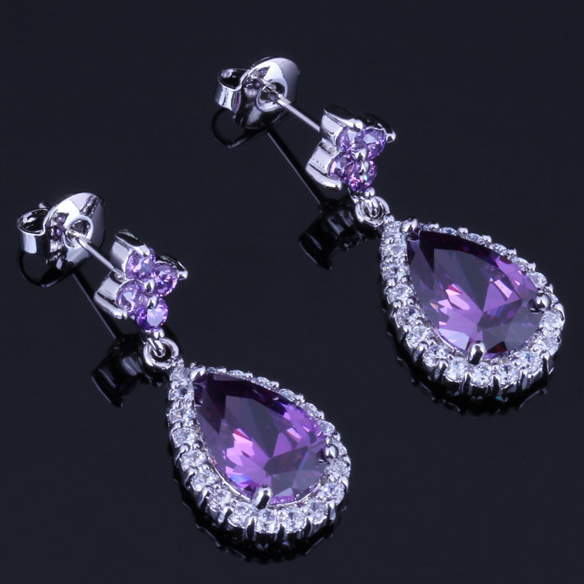 Unusual Water Drop Purple Cubic Zirconia White CZ Silver Plated Drop Dangle Earrings V0745