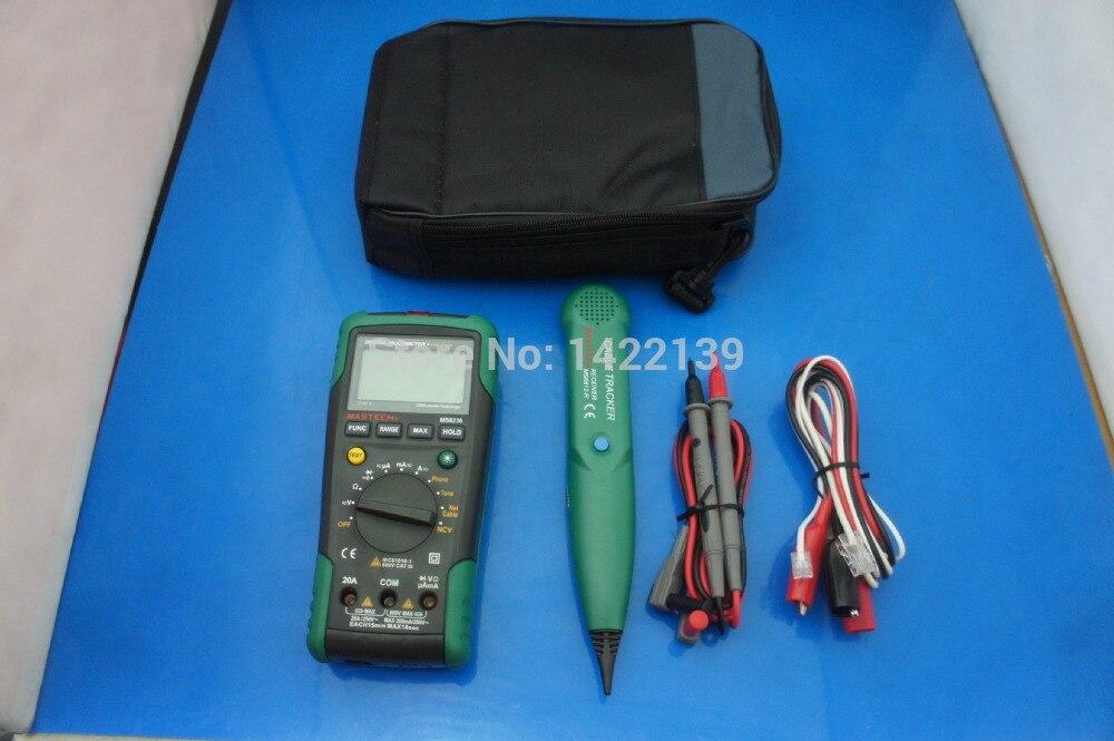 Multímetro DIGITAL de autorirrigación MS8236 + Detector de Cable para teléfono de tono LAN, probador de voltaje