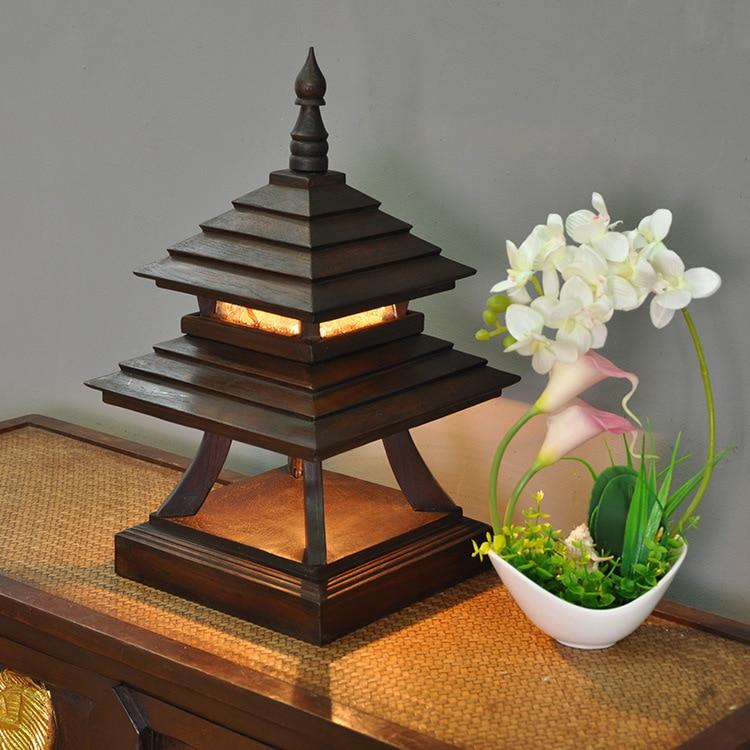 Thailand Stil Retro Tisch Lampen für Schlafzimmer Chinesische Klassische Lampe Holz Wohnzimmer Tisch Licht