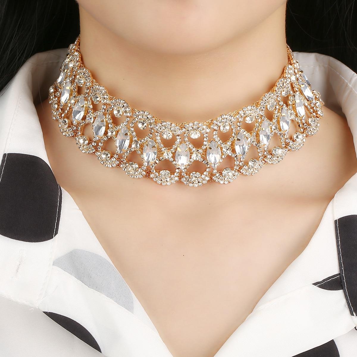 Nuevo diseño de gargantilla de diamantes de imitación de cristal para mujer, Collares, abalorios Vintage, accesorios de joyería de boda declaración, Shell Hard