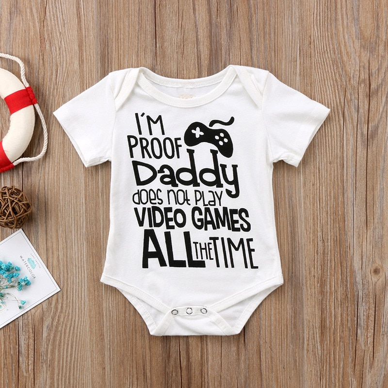 Baby Summer Romper White Pure Cotton Short Sleeve Baby Clothes Newborn Jumpsuit Gift for Daddy