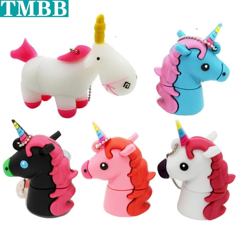 Pen Drive de dibujos animados blanco unicornio Mini 8G 16G 32G unidad Flash Usb 64 GB capacidad Real de caballo penDrive Flash Memoria de disco Memoria