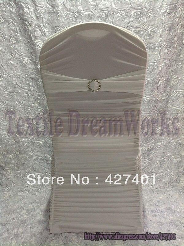 Oferta de nuevos productos en agosto funda de silla de LICRA con volantes blanca con broches redondos de diamantes de imitación para decoración de boda