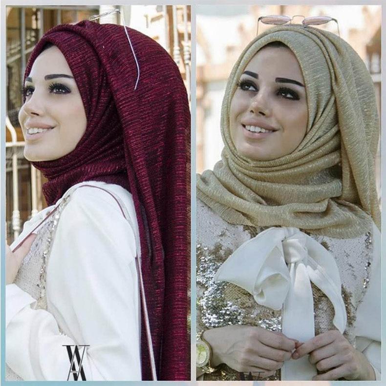 وشاح حجاب بطيات للنساء المسلمات ، شال مجعد ، سادة ، لامع