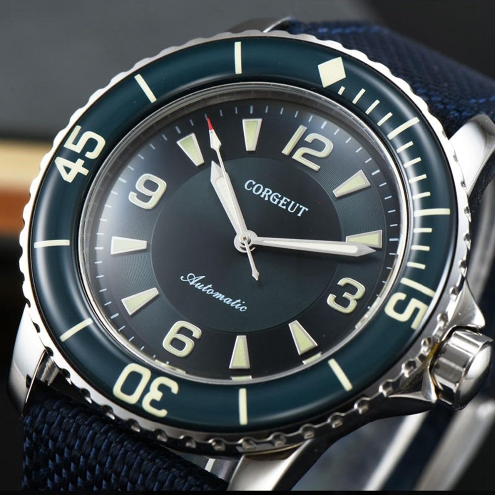 Corgeut 45mm design do esporte relógio de luxo marca superior mecânico luminoso mãos masculino automático auto-vento vintage relógio masculino