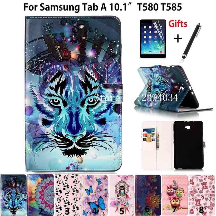 Тонкий окрашенный чехол для Samsung Galaxy Tab A A6 10,1 2016 SM-T580 T585 T580 T585N, чехол для планшета, Детская искусственная кожа + пленка + ручка