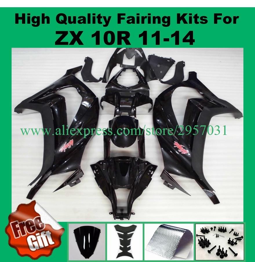 Tornillos gratuitos + regalos molde de inyección carenado de Kawasaki Zx10r Zx-10r Zx 10r negro 2014, 2011, 2012, 2013 11 12 13 14