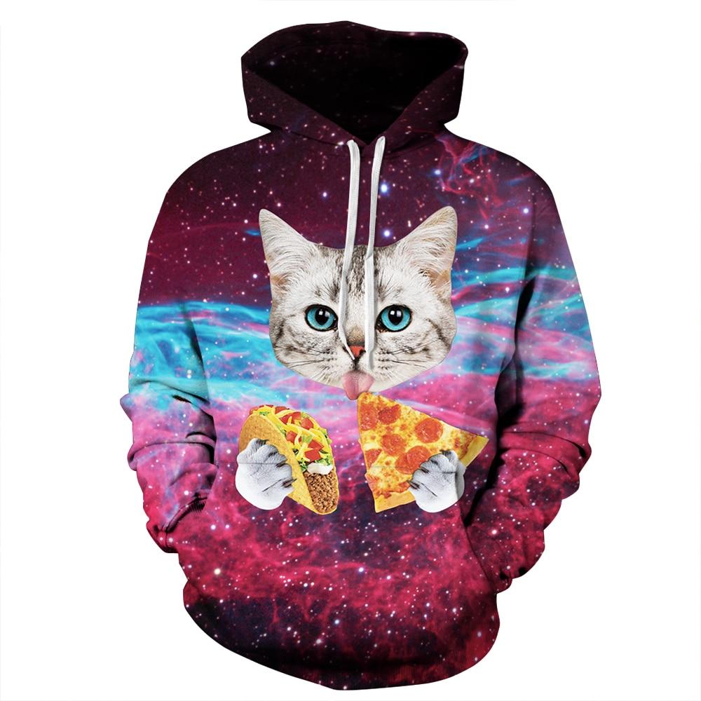 Men Women hoodies hip hop sweatshirt 3D print starry sky Cat head pizza fashion casual Loose hoodie tracksuit unisex Pullover