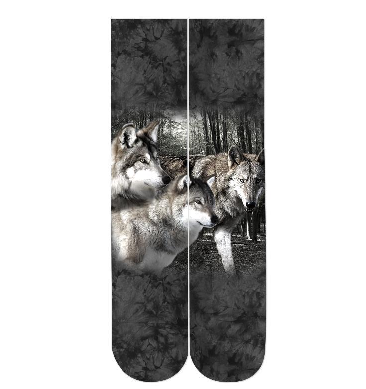 Calcetines con estampado 3d de lobo gato León negro 2018 al por mayor 38cm de longitud