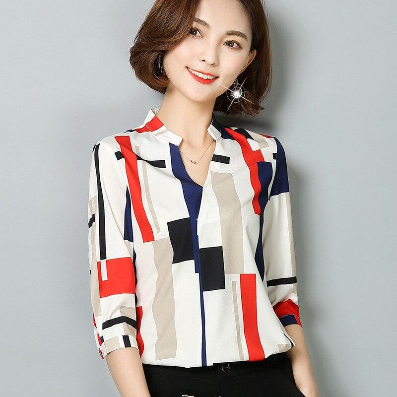 Lady Fashion Garment Female Chiffon Blouse  Vneck Cultivate Ones Morality Stripe Grid Chiffon Unlined Upper Garment B9629