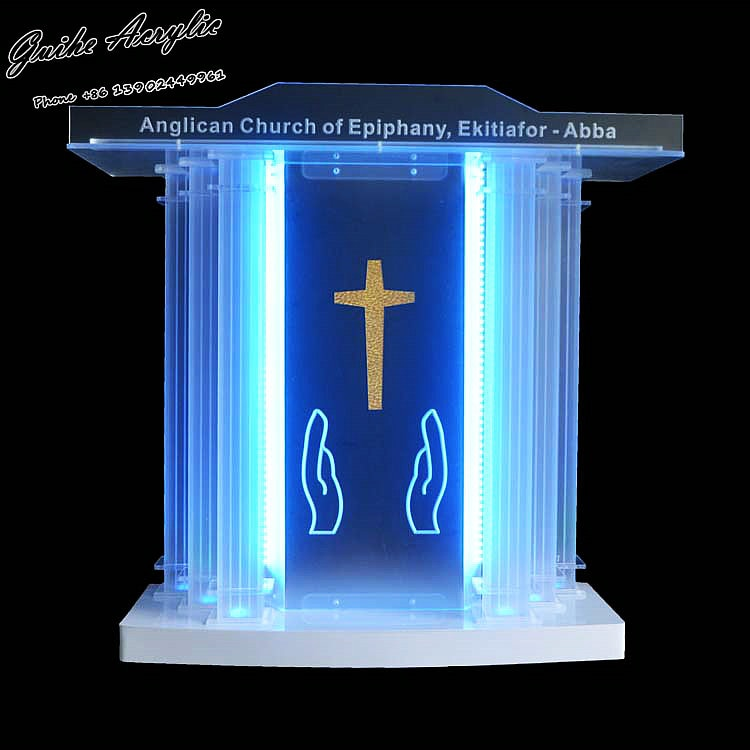 GUIHEYUN Grand acrílico podio de Iglesia plexiglás púlpito sacerdote Atril con luces LED